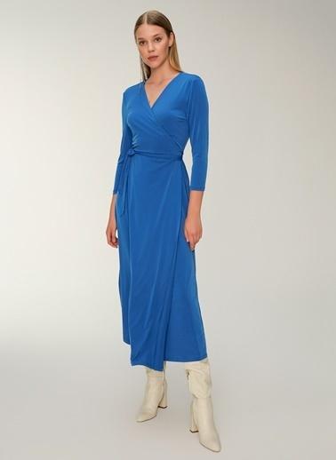 NGSTYLE Kruvaze Örme Elbise Mavi